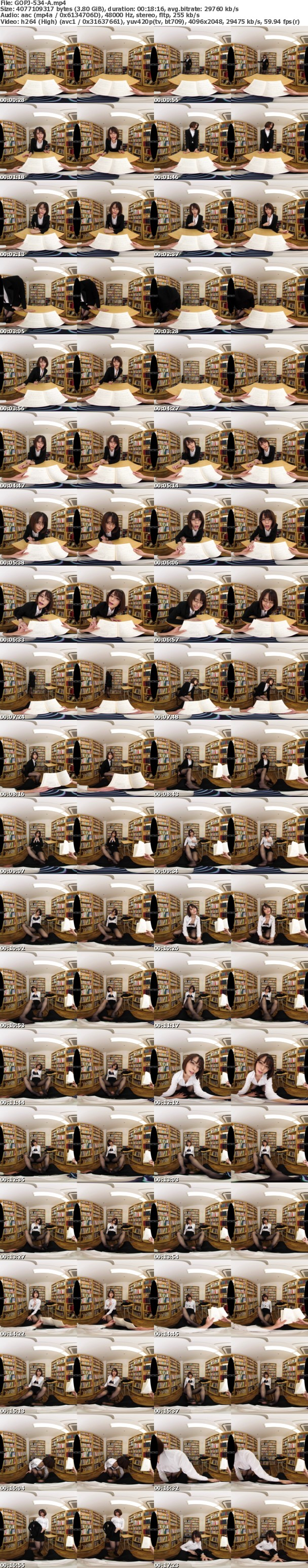 (VR) GOPJ-534 HQ 劇的超高画質 色気ムンムン痴女先生 静かな図書室で囁き淫語責め&バレないように声我慢SEX
